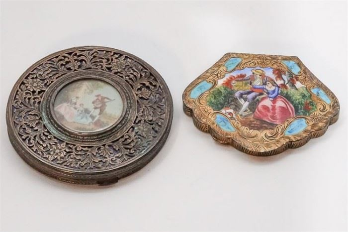 294. Two Silver Compacts