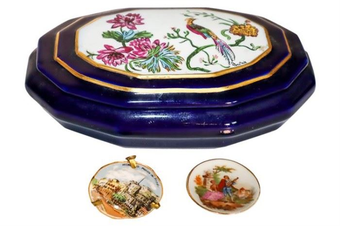 303. LIMOGES Porcelain Lidded Dresser Box and Two Miniature Plates