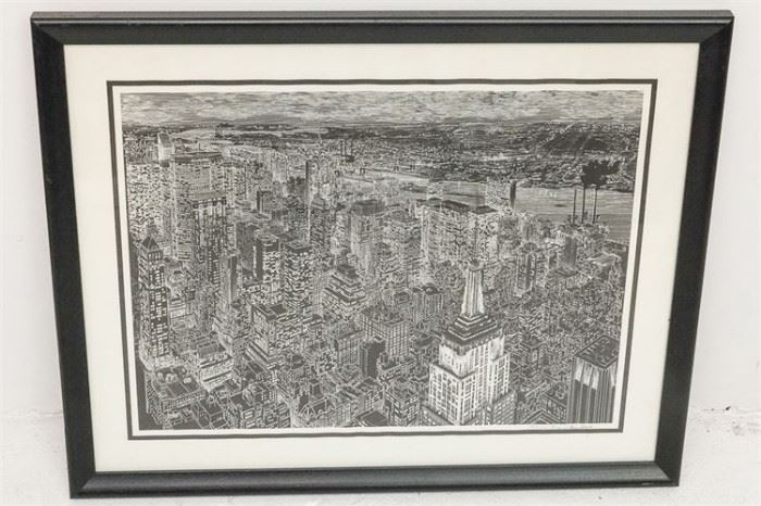 307. American, 20th C School. New York City Skyline Lithograph