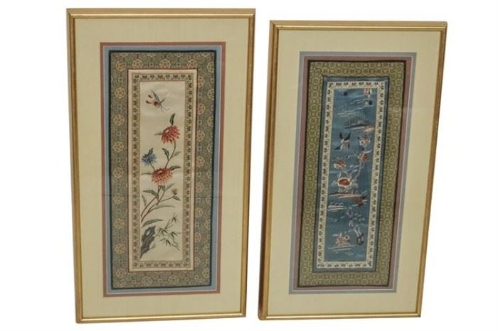 310. Lot of Two 2 Framed Chinese Embroidered Textiles