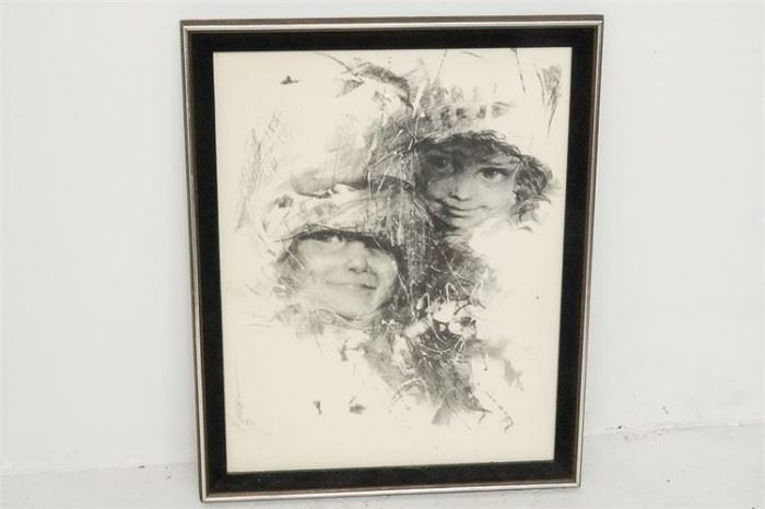 325. Murray, 20th c, Framed Print Two Children