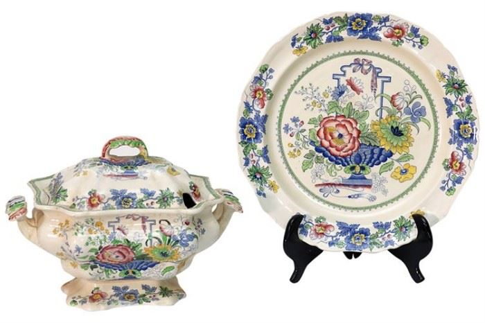 335. MASONS Strathmore Ironstone Tureen and Under Plate