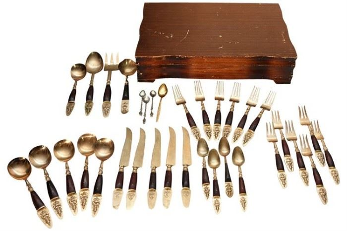 345. Partial Set of Thai Flatware in Brass Wood