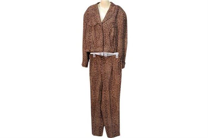 357. Ladys VIA SETA Leopard Print Pants Suit