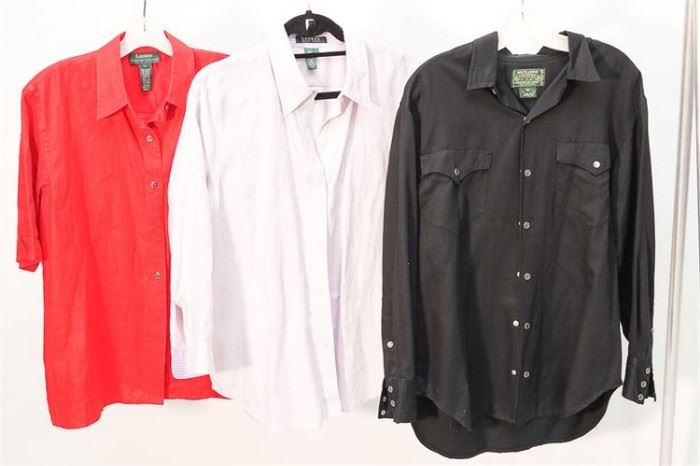 411. Group Lot of Three 3 LAUREN Ladys Shirts