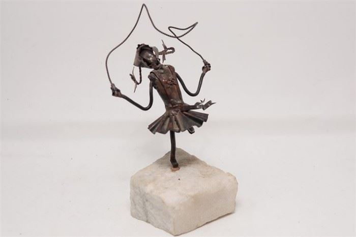 425. 20th c Brutalist School, Girl Skipping Rope Sculpture