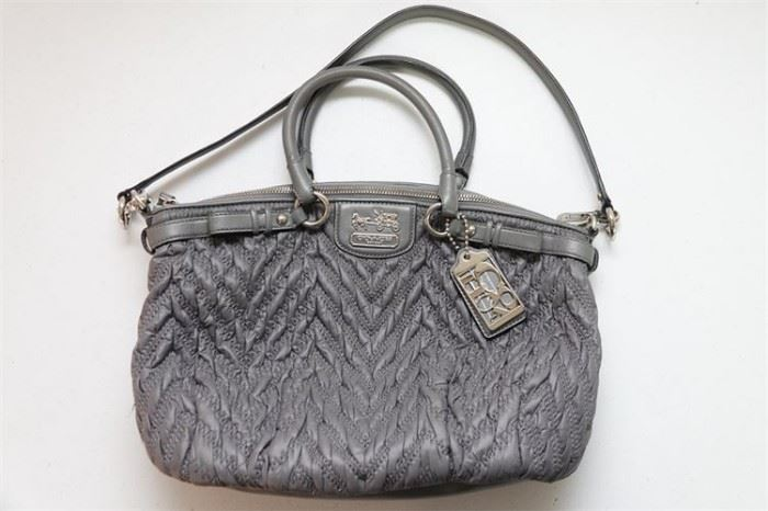436. COACH Madison Bag Quilted Chevron Nylon Sophia Large Satchel