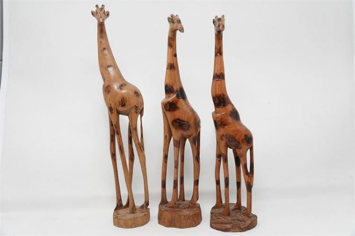444. Lot of Three 3 Carved Wooden Giraffes