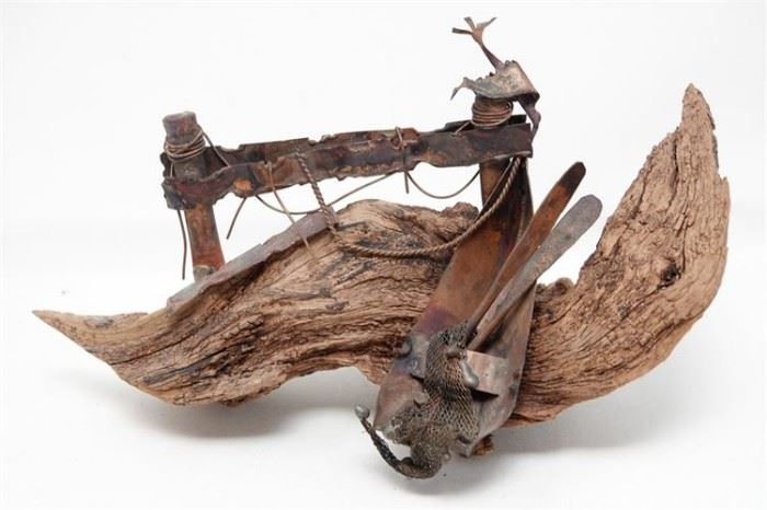 451. Driftwood and Metal Sculpture