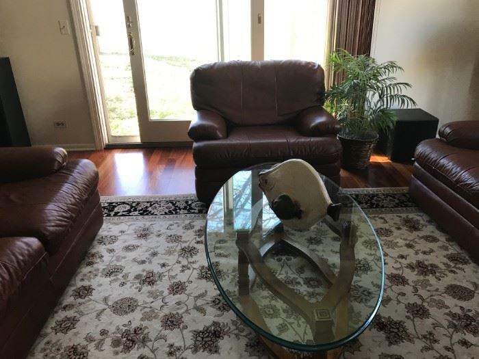 glass coffee table, Leather chair
