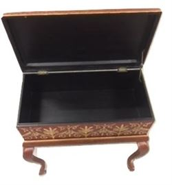 E9- Two Piece Red Filigree Box on Pedal stool