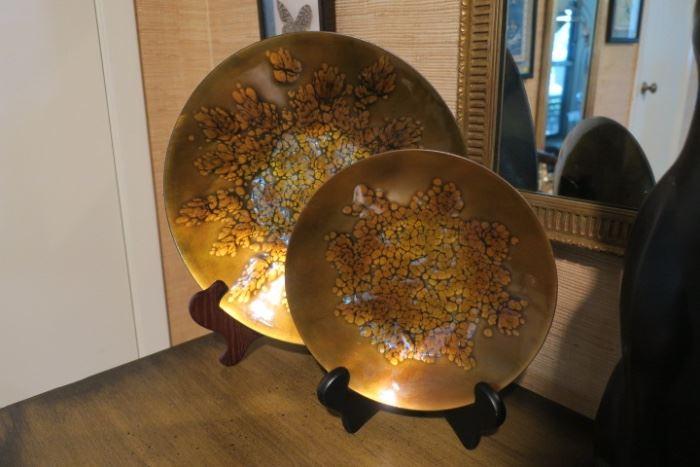 Pair Mid Century Signed Kareka Copper Enamel Plates