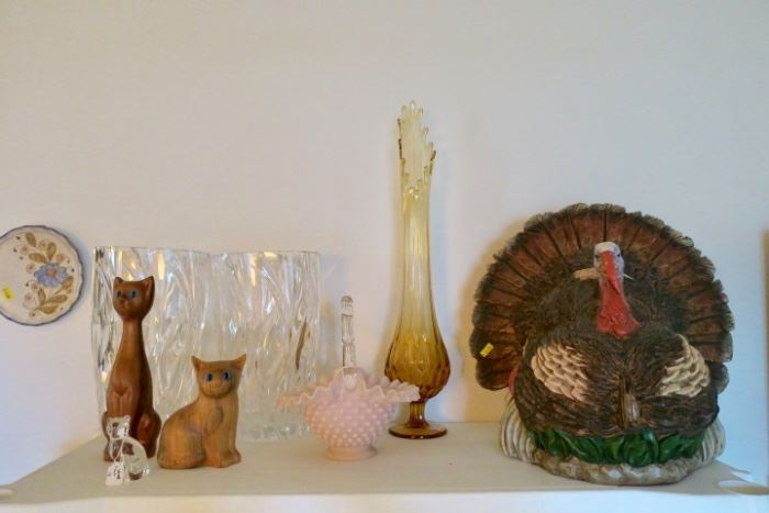 Fenton Swung Vase & Pink Fenton Hobnail basket