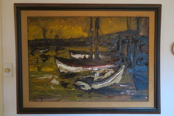 Texas Artist J. Howard Rabby,  Isla Mujeres Cove Docking 1970