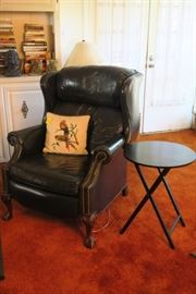 Pair of Navy Leather Recliners