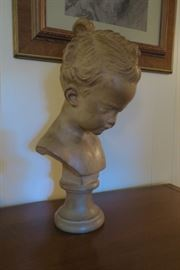 French Bust  After Francois Jaques Joseph Saly.  Signed Saly GF France