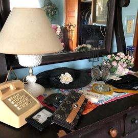 This Antique Dresser is loaded with Variety from the Vintage Phone to the Hobnail Milkglass Lamp to the Vintage Hat and Dresser Mirror, and more!