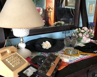 This Antique Dresser is loaded with Variety from the Vintage Phone to the Hobnail Milk glass Lamp to the Vintage Hat and Dresser Mirror, and more!