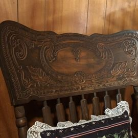 Beautifully Carved Press Back Antique Rocker Gorgeous Design!