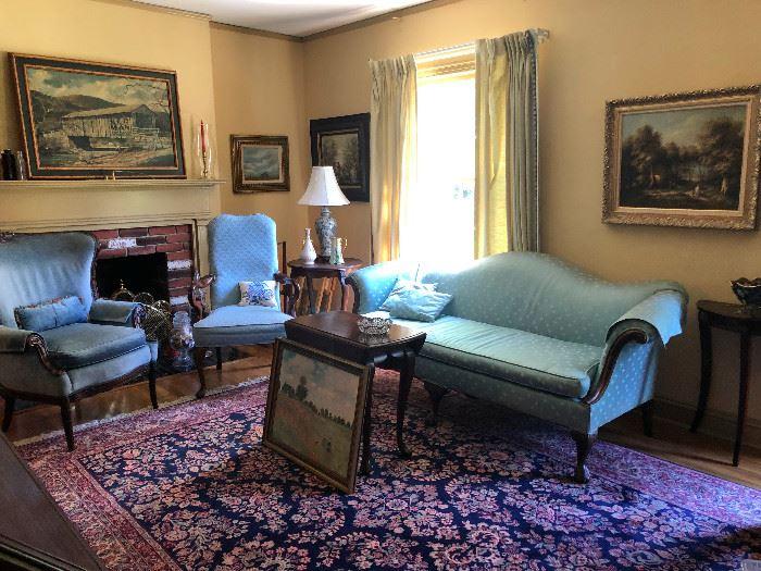 Antique silk and down sofa