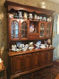 Thomasville antique cherry wood china cabinet