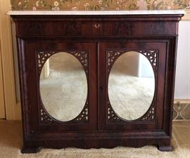 Antique Marble Topped Server Sideboard w/Mirrors