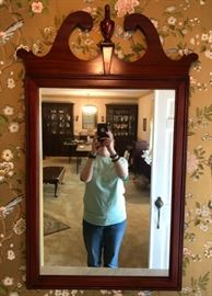 Wood Framed Mirror with Finial
