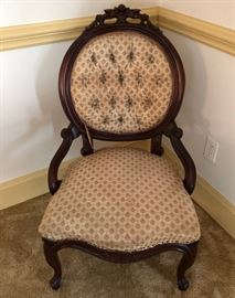 Antique High Back Carved Gentlewoman's Chair