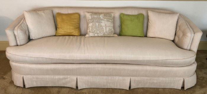 Beige Tone on Tone Tufted Sofa w/Pillows