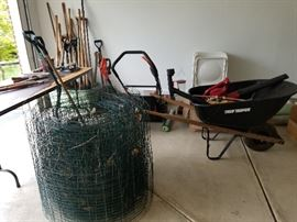 Yard Hand Tools $5.00 Each,  Lawn Mower $100.00, Wheel Barrel $25.00