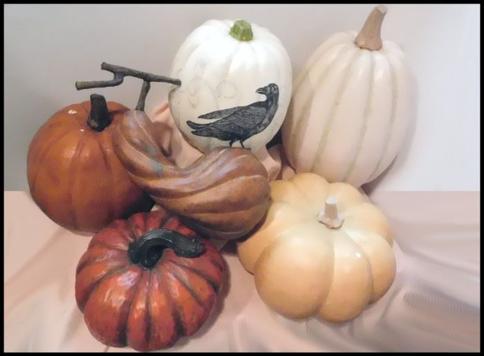 Large Decorative Faux Pumpkins and Fall Gourds.