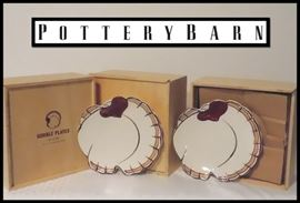 12 Pottery Barn Luncheon Gobble Thanksgiving Plates.