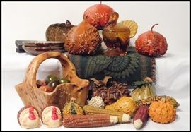 Autumn Decorations including a Beautifully Carved Wooden Basket.