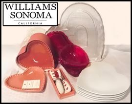 Sampling of Valentine Items including Williams Sonoma Heartshaped Luncheon Plates.