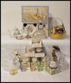 Easter Treasures including Peter Rabbit Wedgwood Tea Set, Snowbunnies and Fostoria.