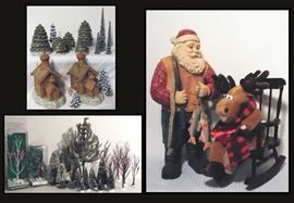 Christmas Trees Village Birch and Bare Bark plus Large Wooden Santa and Reindeer.