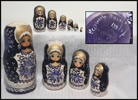 Ten Piece Nesting Dolls. Made in Minsk and painted in Gold and Prussian Blue.