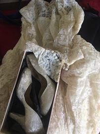 antique wedding dress and original shoes