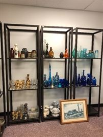 Beautiful glass vases; ALL SHELVING UNITS are being sold!
