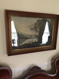 Antique print behind wavy glass