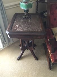 Eastlake table with brown marble insert