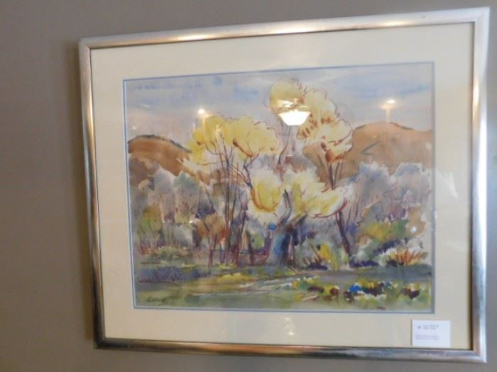 Eric Gibberd Watercolor on paper ( Bank of Mojave River)
