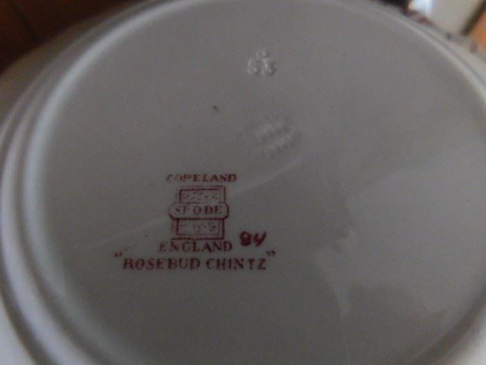 """142 Copeland  English Spode """"Rosebud Chintz"""" china set"""