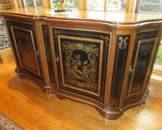 """DREXEL HERITAGE """"HAMPSHIRE"""" CHINOISERIE &EBONIZED CONSOLE WITH GUILT ACCENTS H 36"""" X W 77"""" X D 22"""""""
