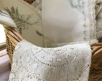 Linens, embroidered linens, vintage lace