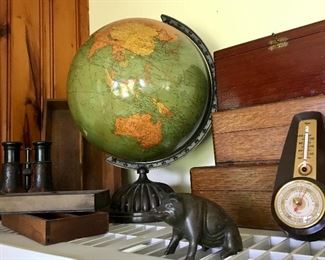 Antique world globe, wooden boxes