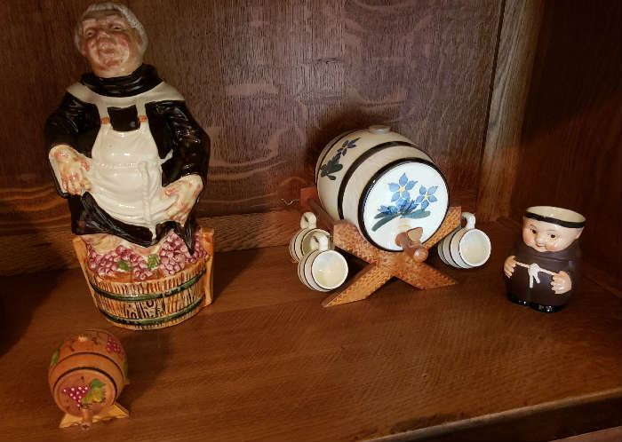 Old Lady Decanter, Whisky Decanter w/ mugs, Monk Pitcher