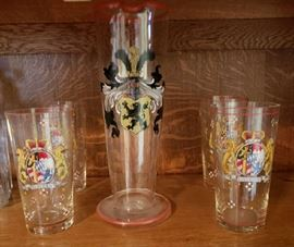 Vintage German Pitcher and Four Glasses