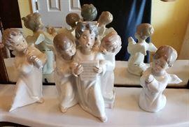 Llardo Three Angels Singing Figurines, Angel with Flute and Angel Praying