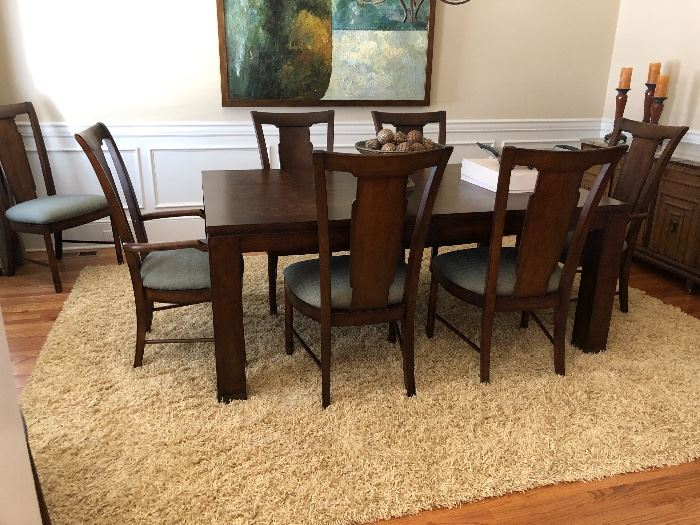 Beautiful dining room table and chairs. Special finish on the table to prevent scratching and damage. Like new condition.